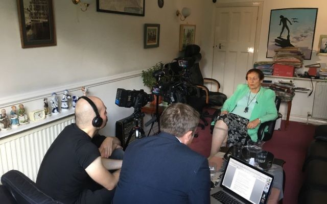 Ruth Barnett being interviewed on camera for the documentary