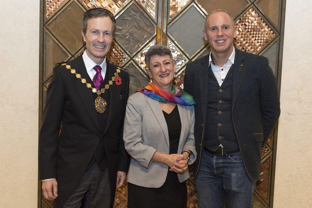 Lord Mayor of Westminster Ian Adams, Rabbi Laura Janner-Klausner and Robert Rinder
