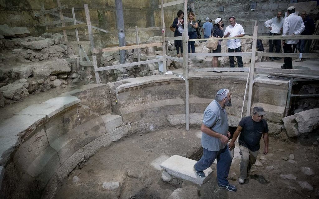 Israel Antiquities Authority archaeologist at the site of an ancient Roman theater-like structure that has been hidden for 1,700 years at the Western Wall tunnels underneath Jerusalem's Old City  Photo by: JINIPIX