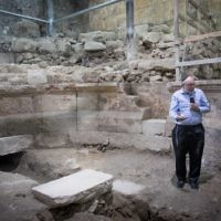Israel Antiquities Authority archaeologist at the site of an ancient Roman theater-like structure that have been hidden for 1,700 years at the Western Wall tunnels underneath Jerusalem's Old City  Photo by: JINIPIX
