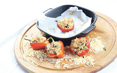 Vegetarian Italian stuffed red peppers