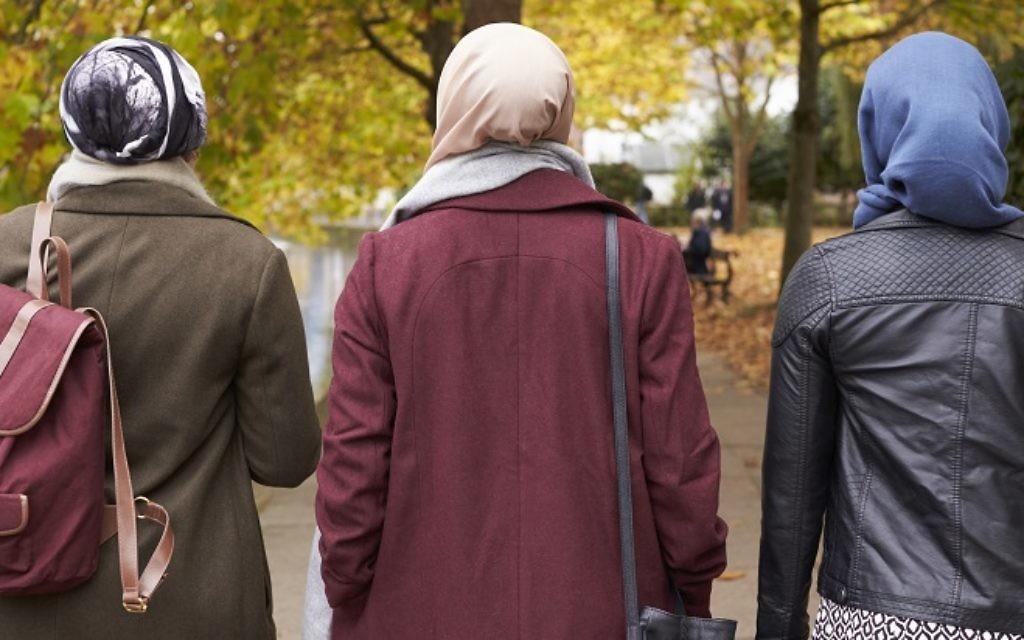 British Muslim women wearing headscarves