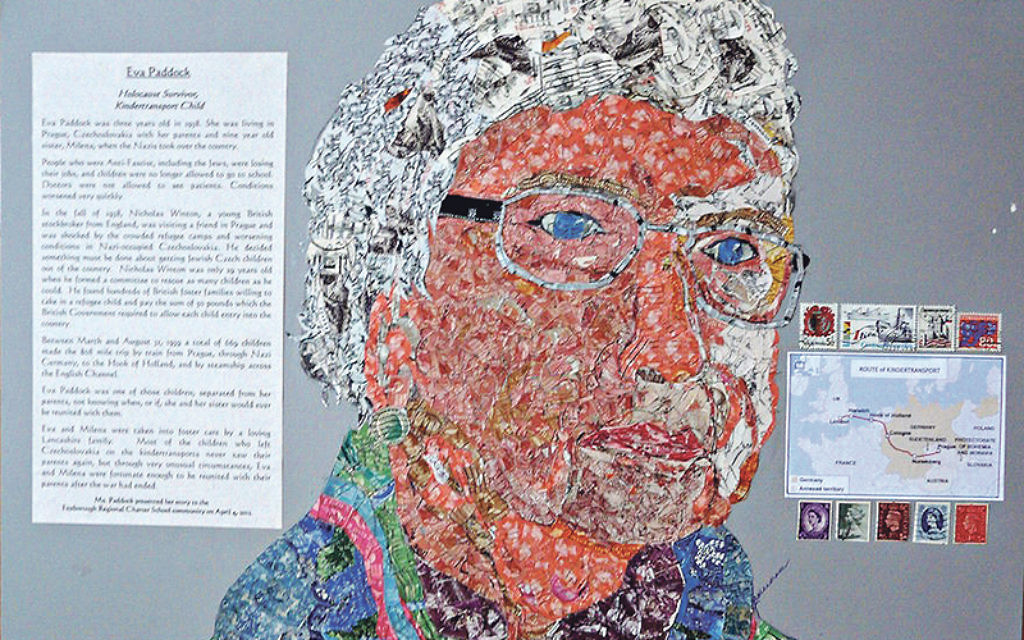 One of the completed collages made from thousands of stamps