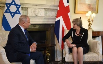 Prime Minister Theresa May with Israeli Prime Minister Benjamin Netanyahu at a meeting in 10 Downing St, London.   Photo credit: Joe Giddens/PA Wire