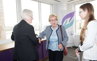 Anne Frank's stepsister Eva Schloss (centre) at a recent CCJ event