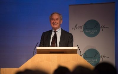 Simon Schama addressing the Balfour Centenary lecture   Credit: Blake Ezra Photography