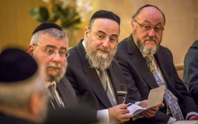 Chief Rabbi Ephraim Mirvis on the right alongside other European religious leaders