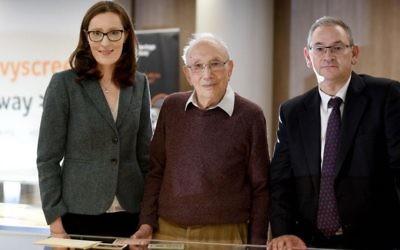 Centre Director Emma King, Holocaust survivor Heinz Skyte (centre) and Shulmans LLP Simon Jackson