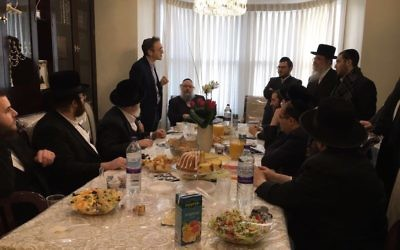 Jonathan Goldstein at the home of a Stamford Hill community member