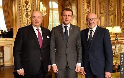 L-R: EJC President Dr. Moshe Kantor, French President Emmanuel Macron amd CRIF President Francis Kalifat  at the Élysée Palace.  Photographer: Erez Lichtfeld