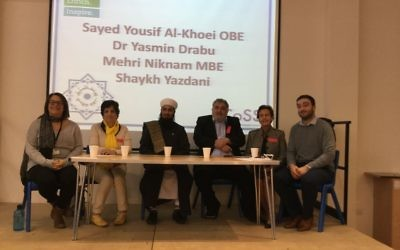 The panel of Muslim speakers at JCoSS. L-R: School staff member,  Dr Drabu;  Shaykh Yazdani. Yousif Al-Khoei; Mehri Niknam; Ben Abram
