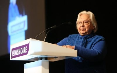 Mavis Hyman, 87, was named the recipient of Jewish Care's Topland Business Luncheon Award