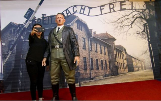 The figurine of Hitler was finally taken down after international outrage
