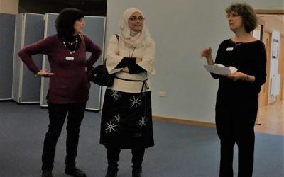 Irene Austin, Samah Nakhleh (HWSF) and Helen Singer (SAMS) giving welcome speech