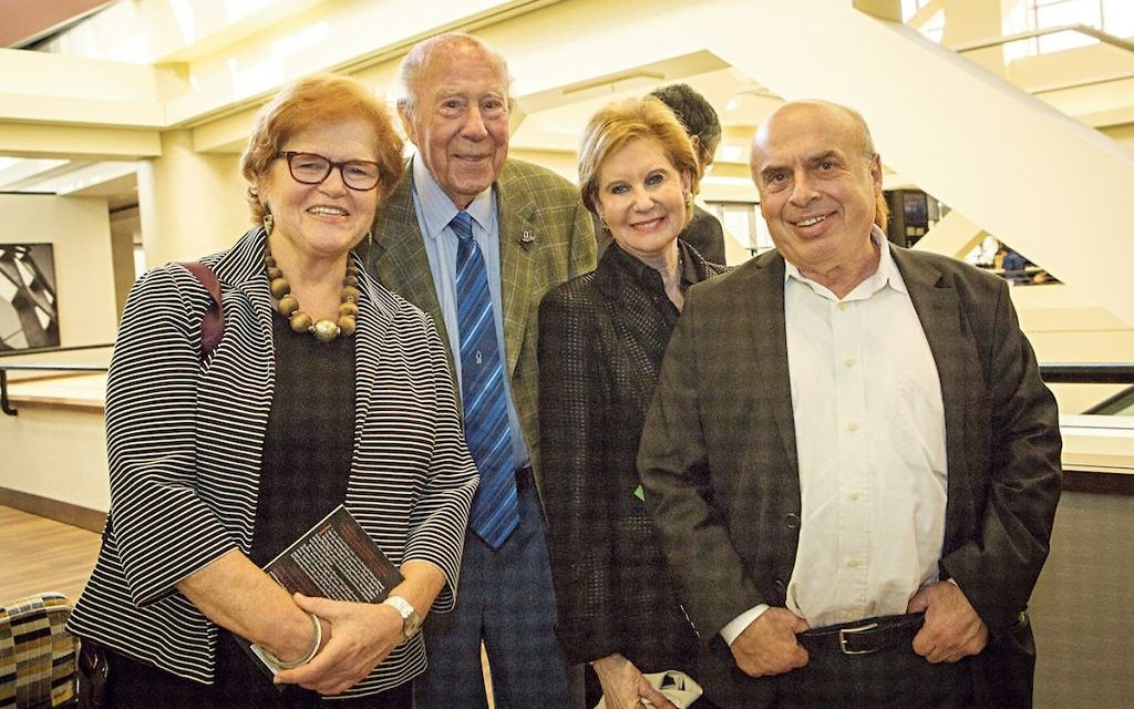 Deborah Lipstadt, left, with former US politician George Shultz and Natan Sharansky