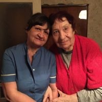 Marianna (R) and her World Jewish Relief funded Home Care worker (L)