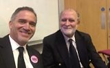 Miko Peled (left) and Azzam Tamimi (right) at UCL.  Credit: Azzam Tamimi on Twitter