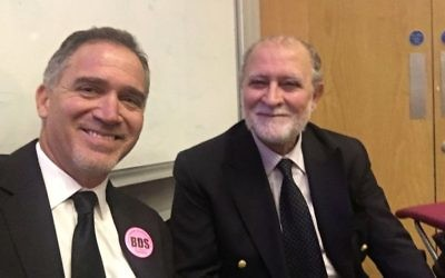 Miko Peled (left) and Azzam Tamimi (right) at UCL in 2017. Both spoke at Labour conference in 2019  Credit: Azzam Tamimi on Twitter