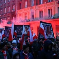 'Jews Out' chants were heard at a 60,000-strong nationalist rally in November 2016 - which featured far-right Poles marching through the streets of Warsaw