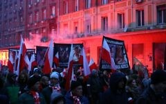 'Jews Out' chants were heard at a 60,000-strong nationalist rally last November - which featured far-right Poles marching through the streets of Warsaw