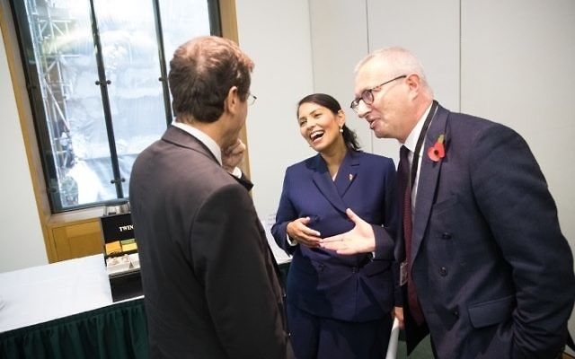 Priti Patel with Stuart Polak at the Jewish News-BICOM policy conference.  Photo credit: Marc Morris Photography