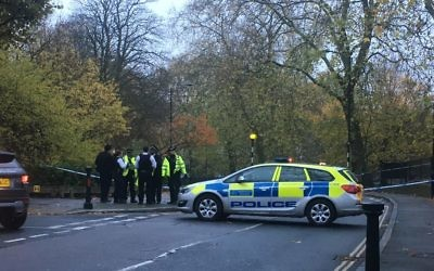 Police at Primrose Hill at the scene of the stabbing of a 16-year-old Jewish student from JCoSS