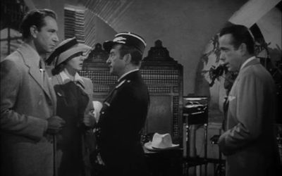 From left to right: Henreid, Bergman, Rains and Bogart in  Casablanca