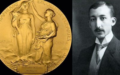 Gold Nobel Prize medal (left) awarded to a founding radiochemist George de Hevesy (right) which is expected to sell for hundreds of thousands of pounds at auction.   Photo credit: Handout/PA Wire