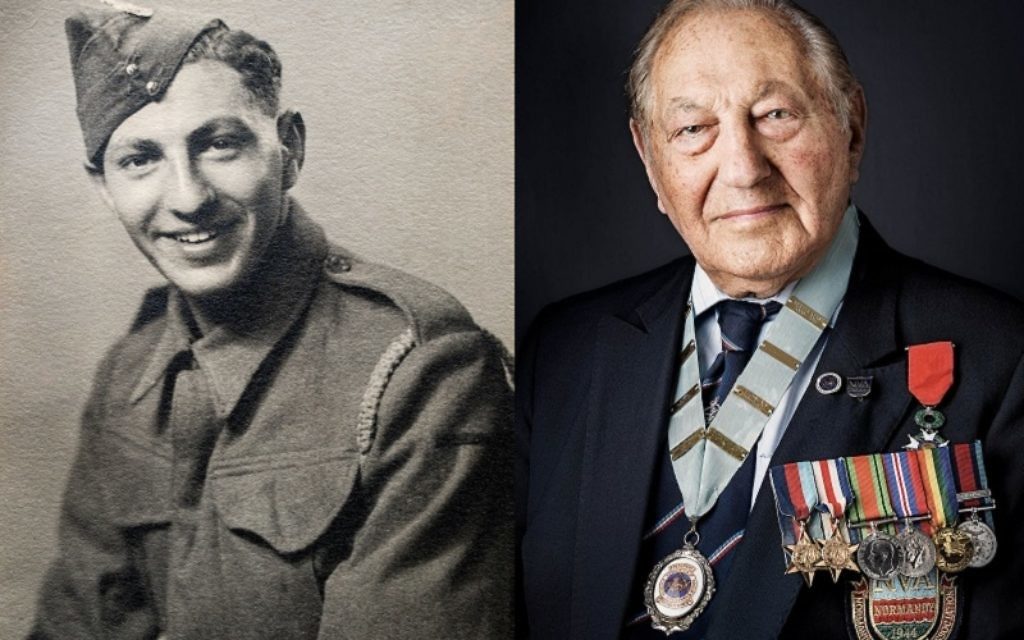 Normandy veteran Mervyn Kersh pictured during the war and today