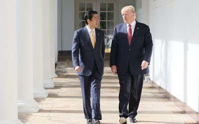 Abe and U.S. President Donald Trump in February 2017