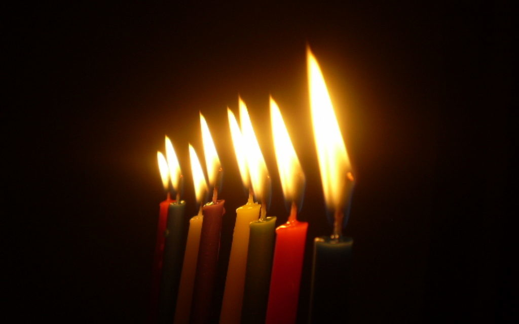Chanukah candles in the dark
