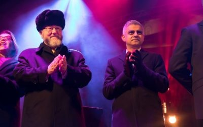 Chanukah in the Square 2017: London Mayor Sadiq Khan with Chief Rabbi Ephraim Mirvis   Credit: Marc Morris Photography
