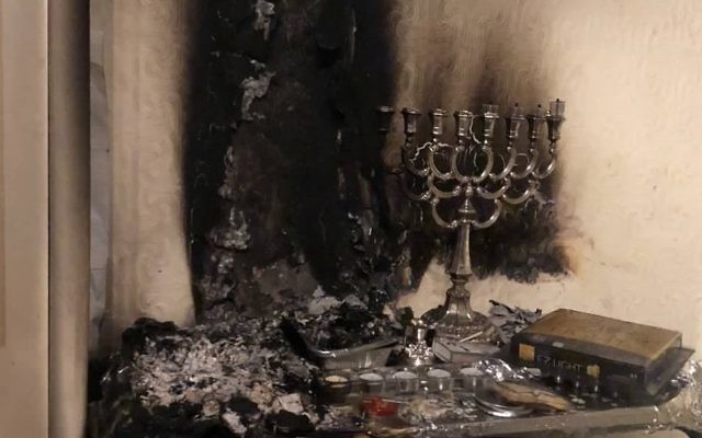 Picture of fire damage from a menorah, posted by Manchester Fire service
