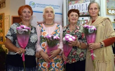 Participants in the survivors fashion show in Arad, organized in part by the International Fellowship of Christians and Jews, included (From left)  Sonia Domine, Elizabeth Rodich, Rosa Chavrova, and Lila Kortekova.