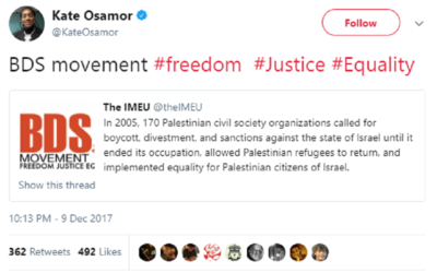 Controversial tweet sent by Kate Osamor