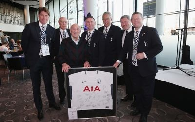 Alfred Leader, pictured with (left-to-right) Darren Anderton, Alan Gilzean, Paul Allen, Martin Chivers, Clive Allen and Micky Hazard