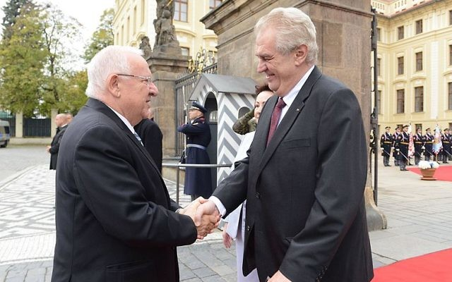 Reuven Rivlin with the Czec president Miloš Zeman during his visit to Czech Republic