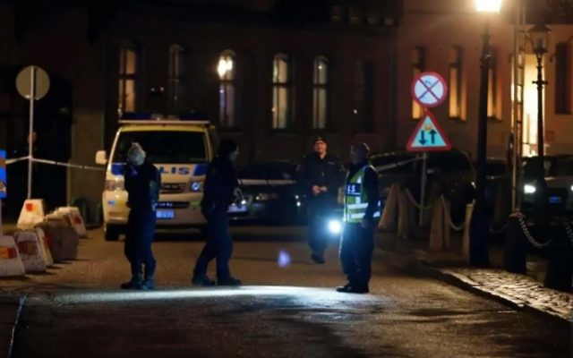 The scene outside the synagogue in Gothenburg after the firebombing