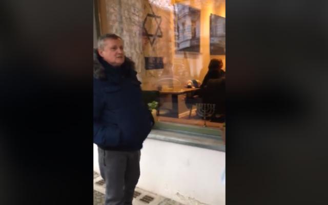 Screenshot of the man's rant outside an Israeli shop