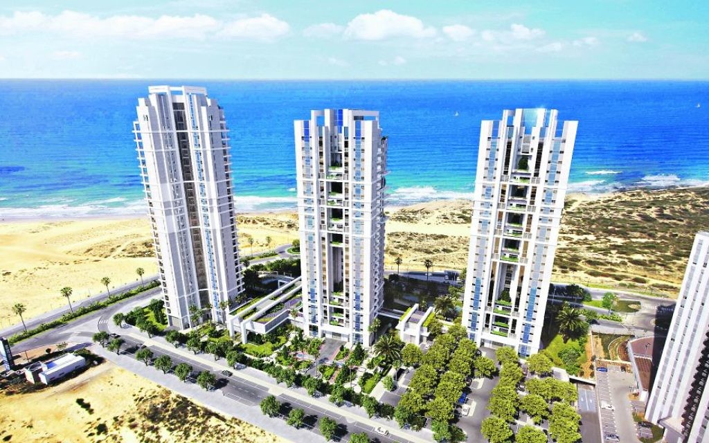 The project comprise three eco-friendly, sea-facing towers; This is an artist's impression of Reserve Towers Dreams, from Shikun and Binul, Netanya