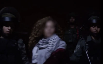 Video from the Israeli military showing the arrest of a Palestinian activist identified as Ahed Tamimi, 17, Dec. 19, 2017. (IDF spokesperson video screenshot via JTA)