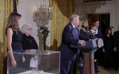 Donald Trump addressing his first White House Chanukah reception