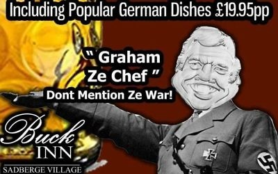 "One of two Facebook posts by The Buck Inn pub in Darlington pub which have been banned for using Nazi imagery and ""trivialising"" the Second World War to advertise a German food night.   Credit: The Buck Inn/PA Wire"
