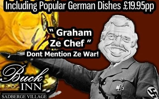 """One of two Facebook posts by The Buck Inn pub in Darlington pub which have been banned for using Nazi imagery and """"trivialising"""" the Second World War to advertise a German food night.   Credit: The Buck Inn/PA Wire"""