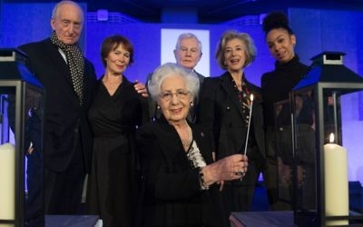 (left to right back row) Charles Dance, Sameena Ali-Khan, Celia Imrie, Holocaust survivor Helen Aronson, Derek Jacobi, Maureen Lipman and Pearl Mackie before a commemorative event at the QEII Conference Centre in London, to mark Holocaust Memorial Day.   Photo credit: Stefan Rousseau/PA Wire