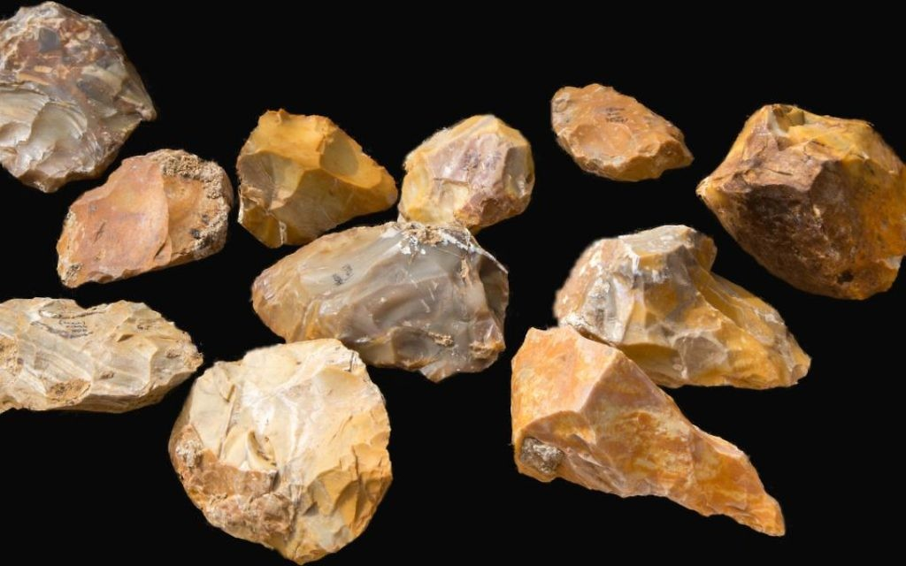 Hundreds of hand axes were uncovered in the excavation, which may re-write the history of human migration. Photographer : Samuel Magal, Courtesy of the Israel Antiquities Authority
