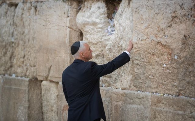 U.S. Vice President Mike Pence visits the Western Wall, Judaism's holiest prayer site, in Jerusalem's Old City January 23, 2018. Photo by: JINIPIX
