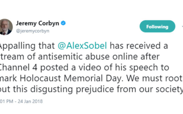 Jeremy Corbyn's tweet condemning the anti-Semitic abuse directed at Alex Sobel