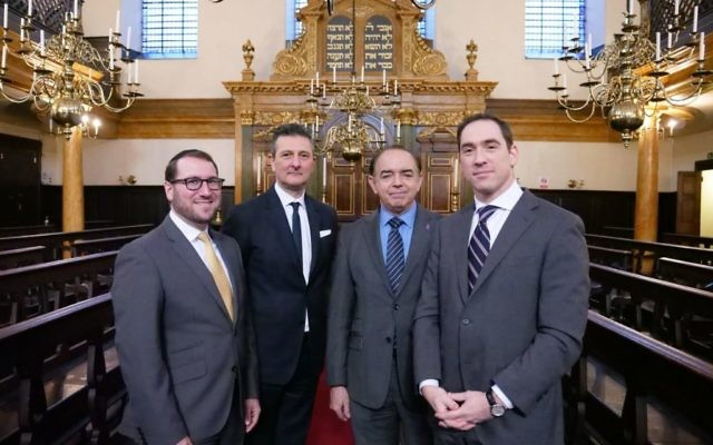 Left-Right: Rabbi Shalom Morris, David Ereira,Lord Bourne and Rabbi Joseph Dweck, at Bevis Marks