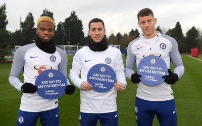 L-R Charley Musonda, Eden Hazard and Ross Barkley have given their backing to Chelsea's new campaign against tackling anti-Semitism